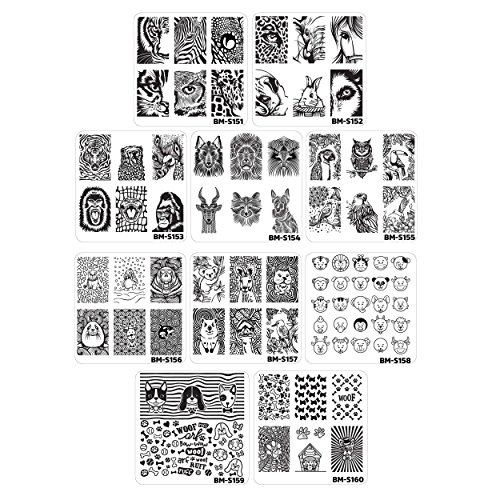 Bundle Monster 10pc Nail Art Manicure Stamping Plates-fuzzy