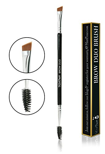 Eyebrow Duo Brush by MintPear-Premium Quality Angled Brush Spoolie for Brow Eyeshadow Eyeliner and Lashes- Cosmetic Tool to Apply Brow Gel Powder and create the perfect thick brows
