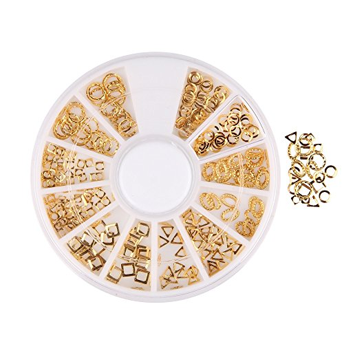 Beauty7 Pack of 300 Manicure Glitter 3D Nail Art Decorations Wheel Gold Tone Hollow Out Geometry Oval Round Square Metallic Studs DIY Nailart Decor Accessories