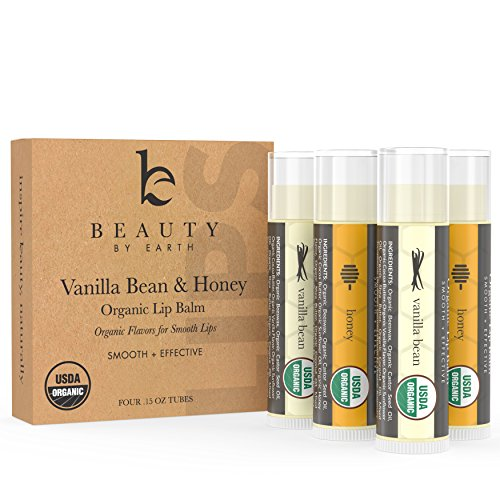 Lip Balm USDA Organic Vanilla Bean Honey 4 pack Pure and Natural Beeswax Lip Butter with Aloe Vera Vitamin E Condition and Repair Dry Chapped Lips Made in the USA