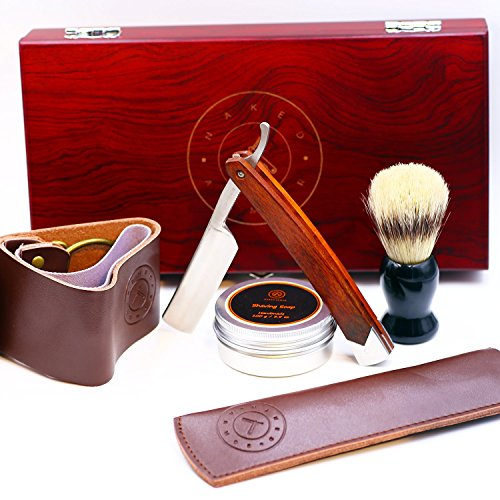 Amazing STRAIGHT RAZOR SHAVING KIT ~ Quality Shave at Home ~ Samurai Strong Edge Japanese Steel Blade  Leather Strop Sleeve Soap Badger Friendly Brush Set ~ Balanced Wood Handle Dad Gift Box