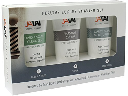 JATAI Trio Shaving Set - Simple 1 2 3 step system cleans shaves and moisturizes to promote younger healthier looking skin by Jatai