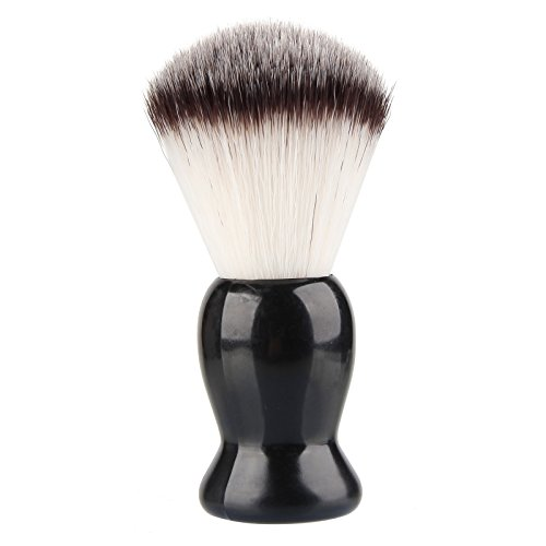 Beauty7 Professional Premium Synthetic Nylon Shaving Brush for Mens Wet Shave Black Resin Handle Black