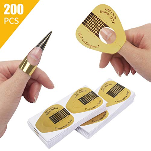200 PCS Horseshoe-shaped Nail Art Extension Tips Acrylic NailUV GEL Nail Form Guide Stickers200 Pack
