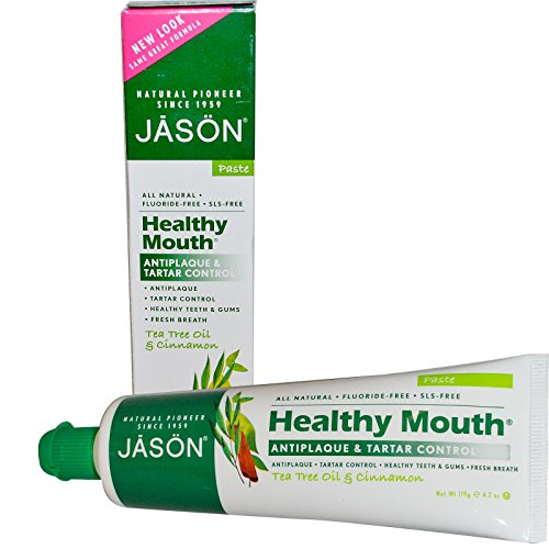 Jason Natural Healthy Mouth Antiplaque Tartar Control Toothpaste Tea Tree Oil Cinnamon 42 oz 119 g - 2pc