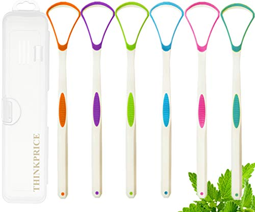 Tongue Scraper Cleaner with Travel Handy Case for Healthy Oral Care Easy to Use Tongue Sweeper Help Fight Bad Breath 6 PACK