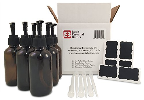 6 4 Ounce 4 oz Empty Amber Glass Bottles Wblack Lotion Pump Tops 6 3ml Pipettes 6 Chalk Labels for Oils Cleaning Products Aromatherapy Shampoo Lotions Soaps etc
