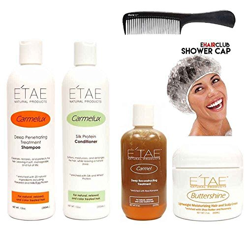 Etae Carmelux Shampoo Conditioner Etae Carmel Treatment Buttershine Natural Products Combo 4 items w FREE Shower Cap and Comb