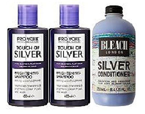 Provoke Touch of Silver Brightening Shampoo 2 x 150ml Bleach London Silver Conditioner 250ml by Provoke and Bleach London