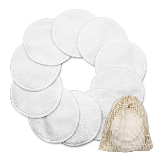 Reusable Makeup Remover Pads 10 Pack Organic Bamboo Cotton Velvet 315inch Rounds with Laundry Bag Washable 2 Layers for Mascara Eye Shadow Lipstick Foundation Toner Moisturizer